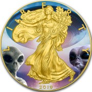 USA TOP SECRET AREA-51 ALIEN UFO American Silver Eagle 2019 Walking Liberty $1 Silver coin Gold plated 1 oz